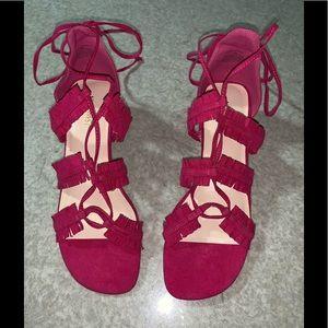 Nine West brand faux suede pink gladiator sandals.